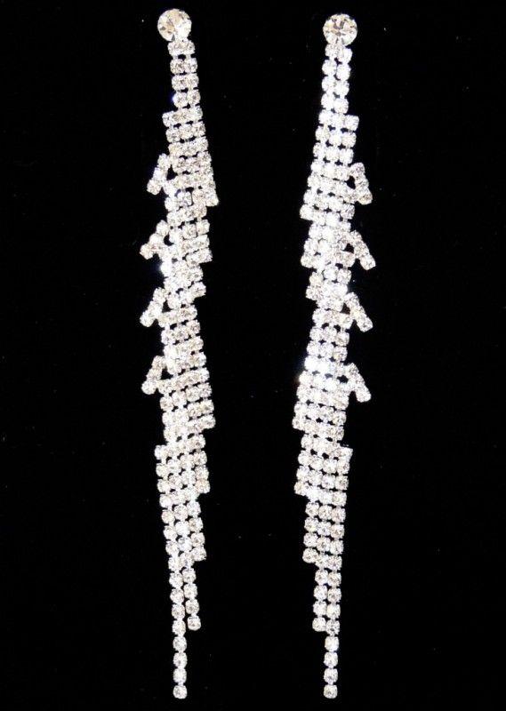 Štrasové náušnice dlouhé čárky 32819-4 | Bižuterie Kozák
