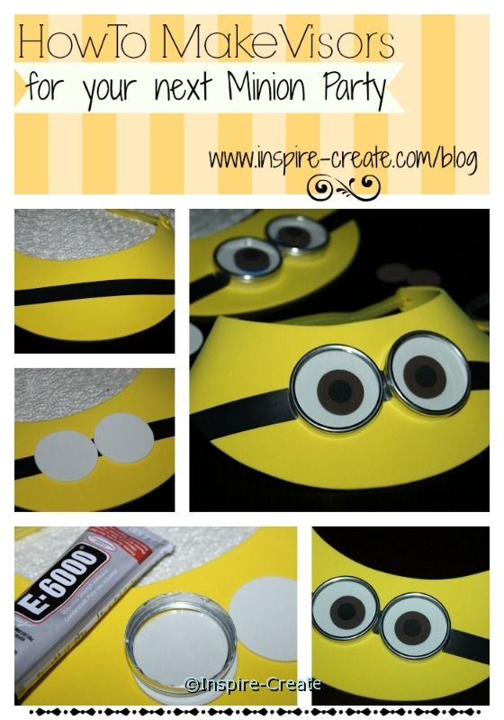 Make Minion Visors for your next Party with yellow foam visors   Minion Party Ideas   tutorial at Inspire-Create.com/blog
