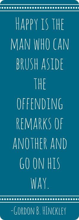 Offending remarks are usually from immature people anyways