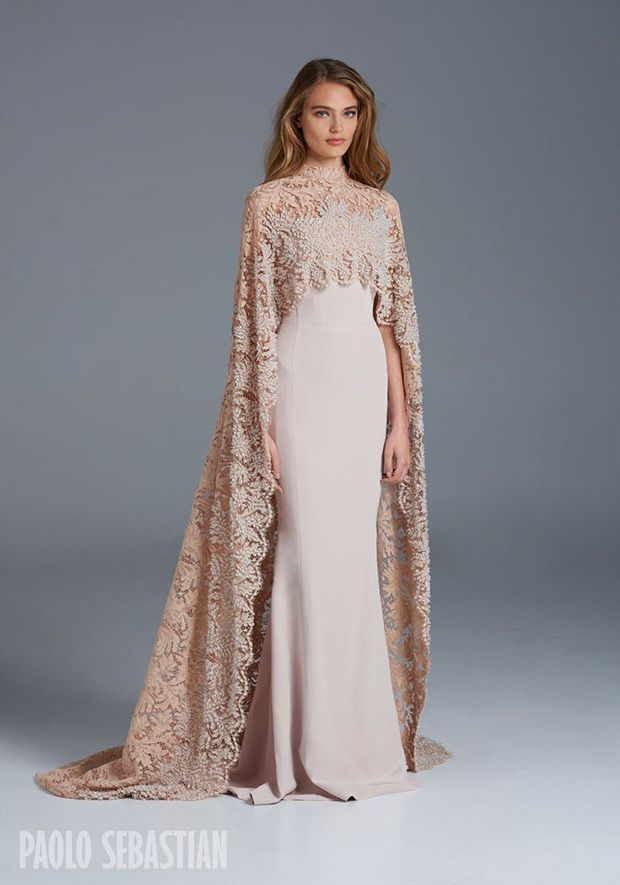 1605 Wedding Dress from Paolo Sebastian wedding dresses SS 2015/2016 - Silk gown with beaded lace cape - see the rest of the collection on www.onefabday.com