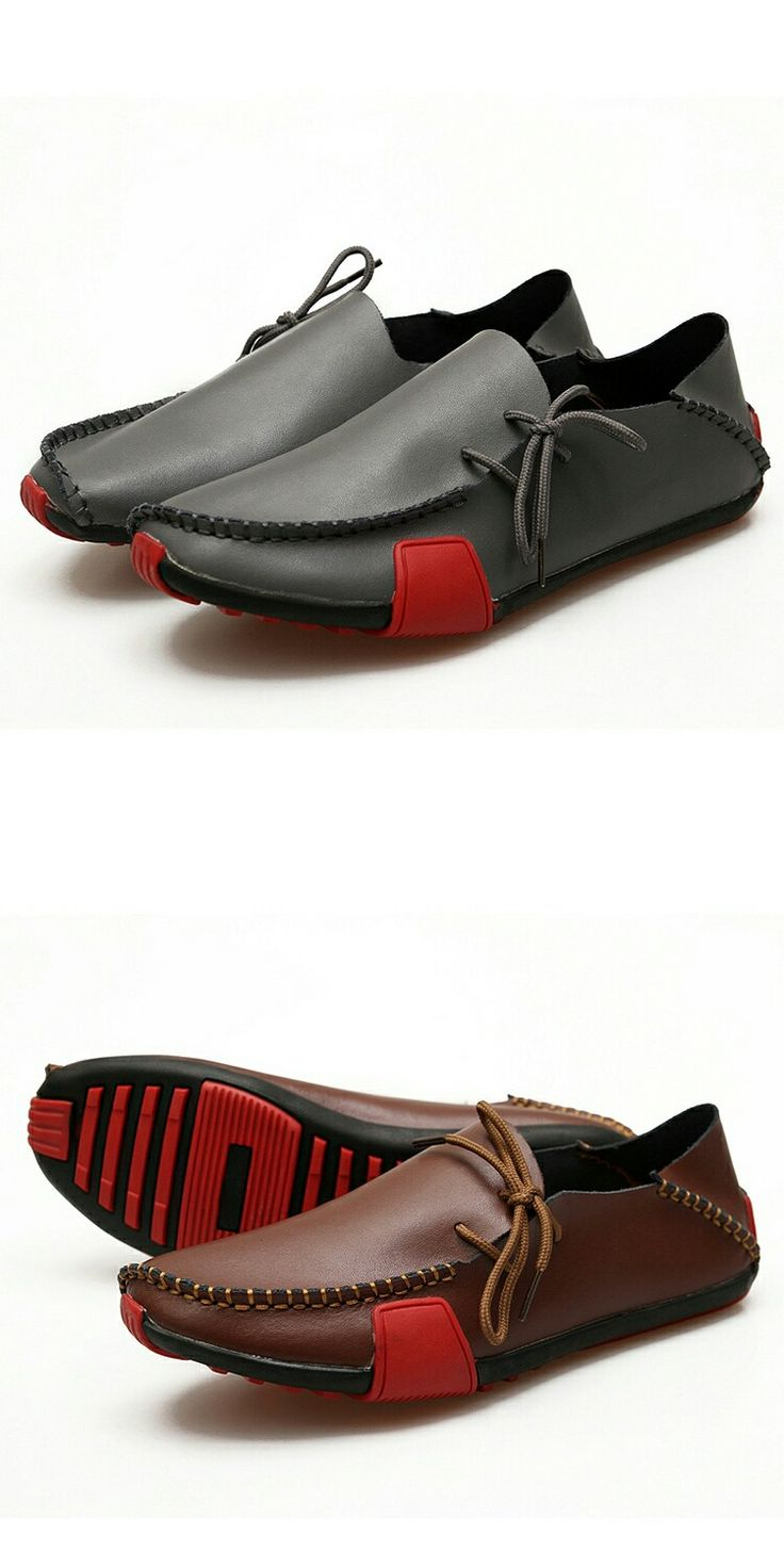 Genuine Leather Big Size Men Driving Shoes Good Quality Soft Men Loafers Comfortable White Grey Marron Plus Size 45 46 47