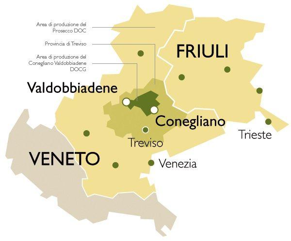 Conegliano Valdobbiadene Prosecco DOCG La zona di produzione si estende nella fascia collinare della provincia di Treviso compresa tra le cittadine di Conegliano e Valdobbiadene.