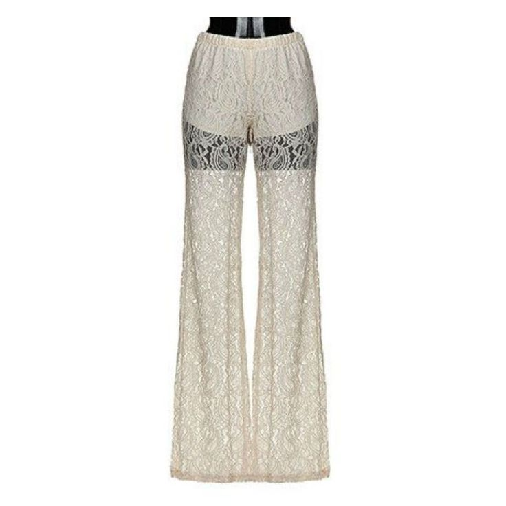 Details about Elegant White Floral Lace Wide Mesh Leg Lined ...