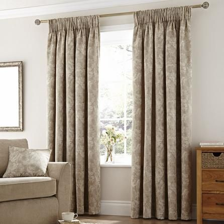 Dunelm Natural Rose Lined Pencil Pleat Curtains