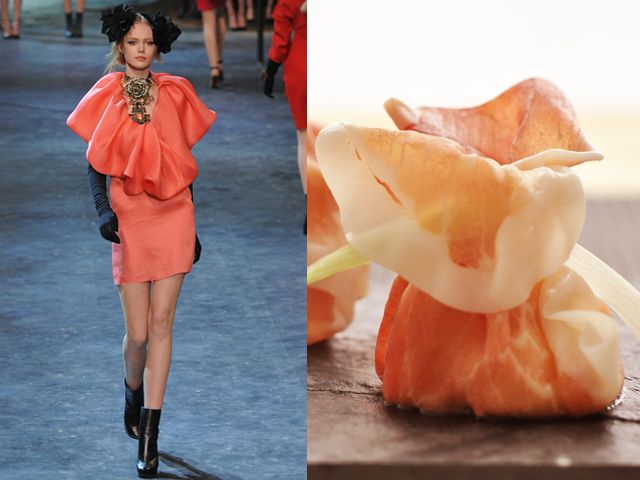 Lanvin fw 2011-12 / Parma ham rolls stuffed with buffalo mozzarella and balsamic vinaigrette
