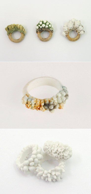 Ceramic Rings inspired by organic growth in nature; contemporary jewellery design // Gabriela Wysocka