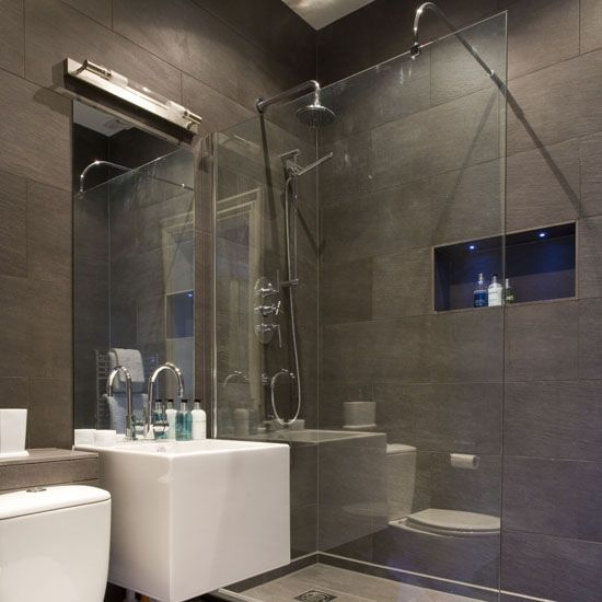Shower room, brown tiles, walk-in shower with white basin and white toilet