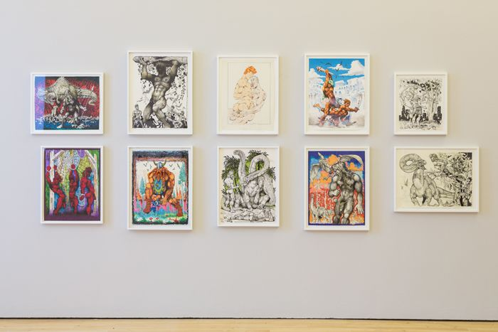 MIKE KUCHAR | Keep Your Timber Limber (Works on paper), Installation view at nstitute of Contemporary Art, London, 2013