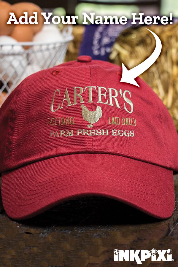 5a9d126d7 Farm Fresh Eggs Cardinal Red Embroidered Hat | Custom Hats ...