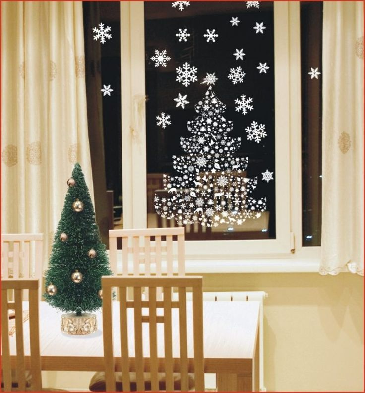stickers pour fenêtre sapin et flocons de neige blancs