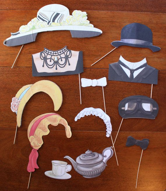 DIY Downton Abbey inspired Photo Booth Props (printable)
