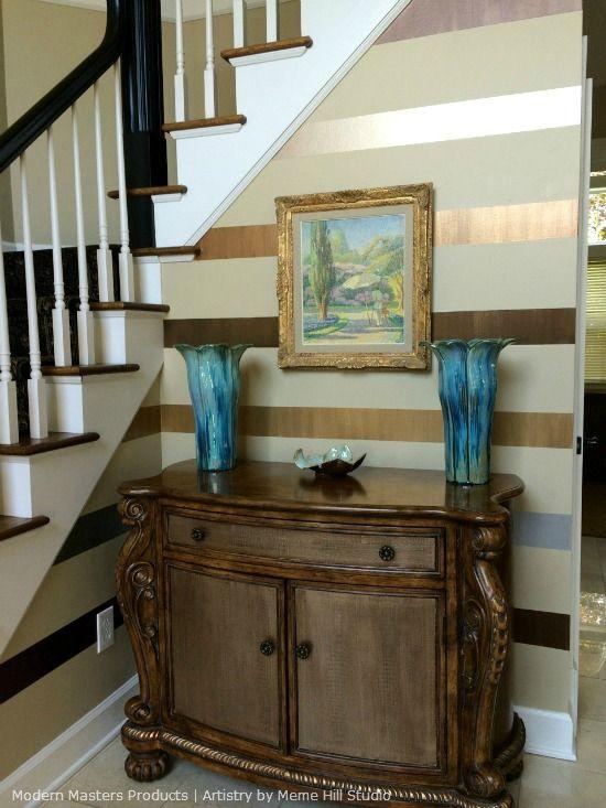 Foyer Paint Finish : Horizontal stripes with metallic paint on foyer walls