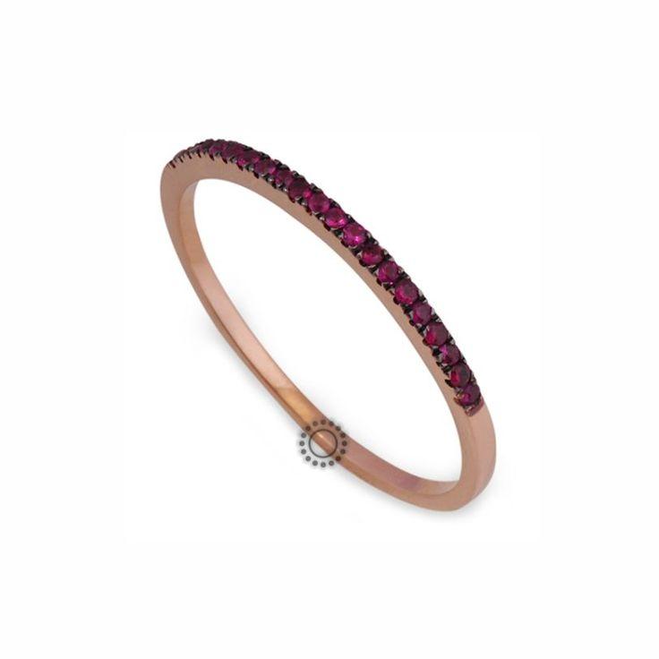 Μοντέρνο λεπτό δαχτυλίδι σειρέ ροζ χρυσό Κ18 με κόκκινα ρουμπίνια | Δαχτυλίδια με ορυκτές πέτρες ΤΣΑΛΔΑΡΗΣ στο Χαλάνδρι #σειρέ #ρουμπίνια #δαχτυλίδι #jewelry
