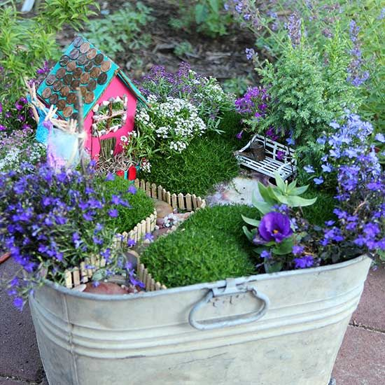 If you don't have a patch of garden space to spare, this container fairy garden is the perfect solution.