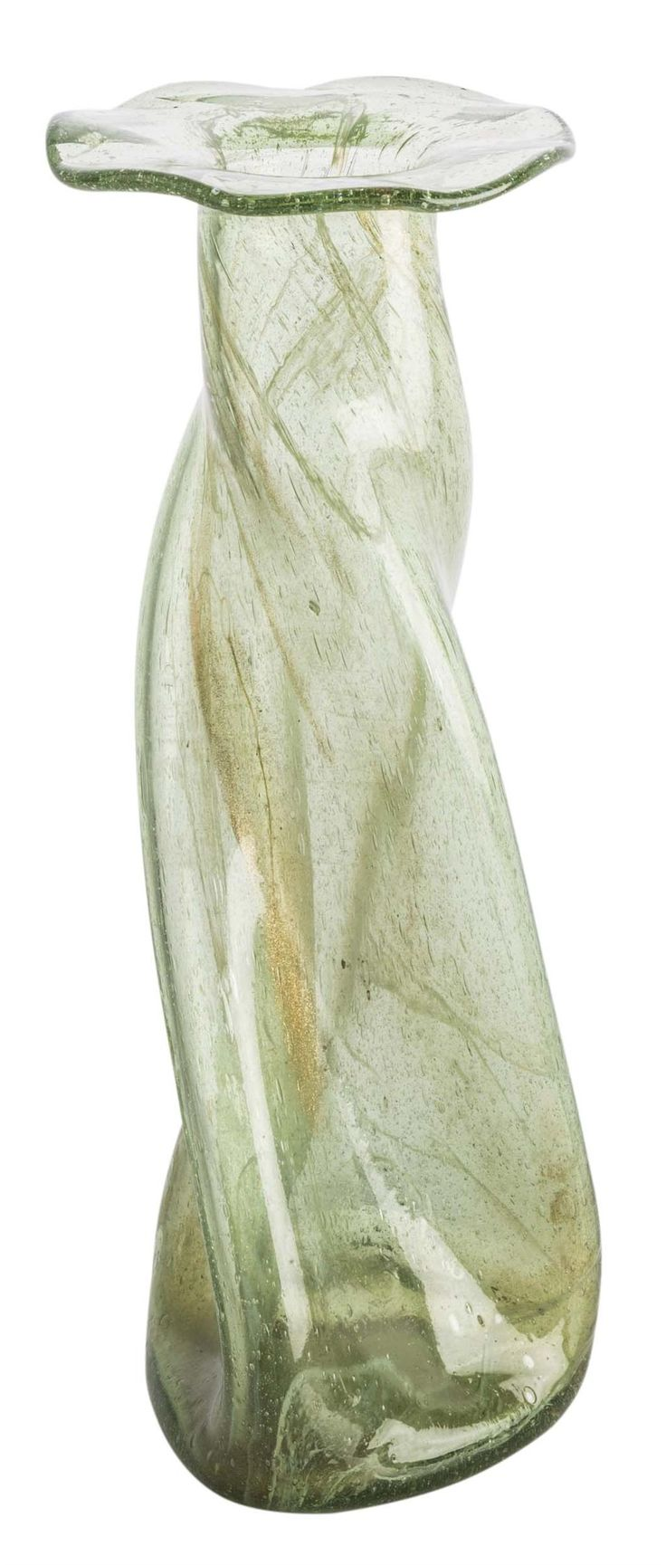 CHRISTOPHER DRESSER (1834-1904) FOR JAMES COUPER & SON, GLASGOW  'CLUTHA' GLASS VASE, CIRCA 1880  of tapering twisted form with broad rim, the green glass body with milky inclusions  28.5cm high  Estimate £ 800-1,200 Sold for £1,000 (buyer's premium included)