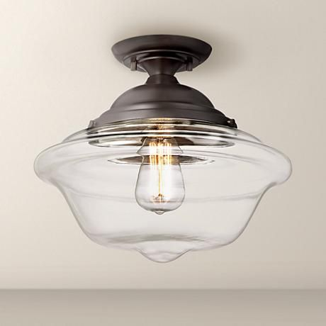 """Is this the one you want to use? I'm keeping the other one on the board until I know for sure. Possini Euro Schoolhouse 13"""" Wide Bronze Ceiling Light"""