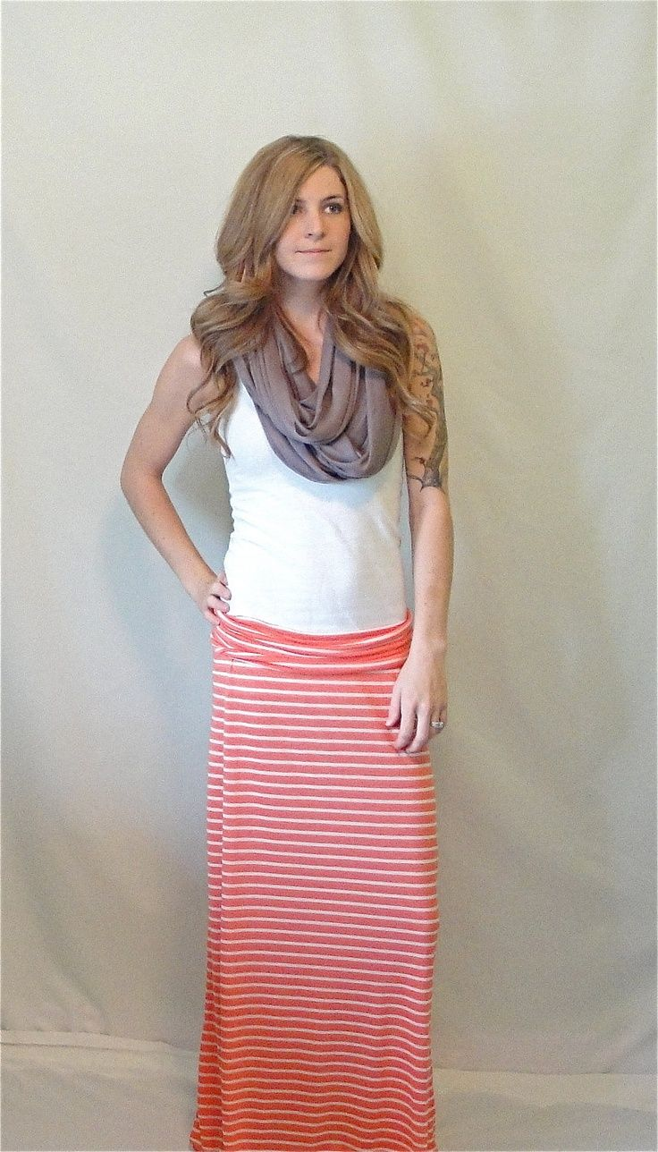 Maxi Skirt Orange and White Striped Singlefolded by OAKscarves maternity style