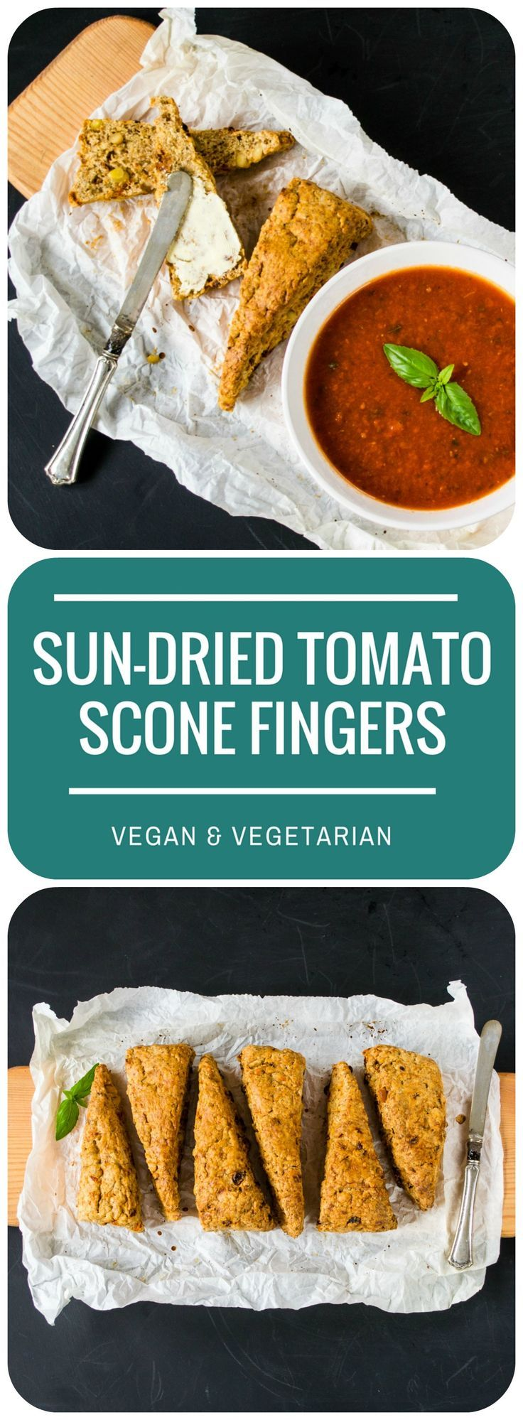 These savoury Sun-Dried Tomato & Pine Nut Scone Fingers are just perfect for dunking into soup, or just scoffing on their own straight from the oven! Vegan and Vegetarian.