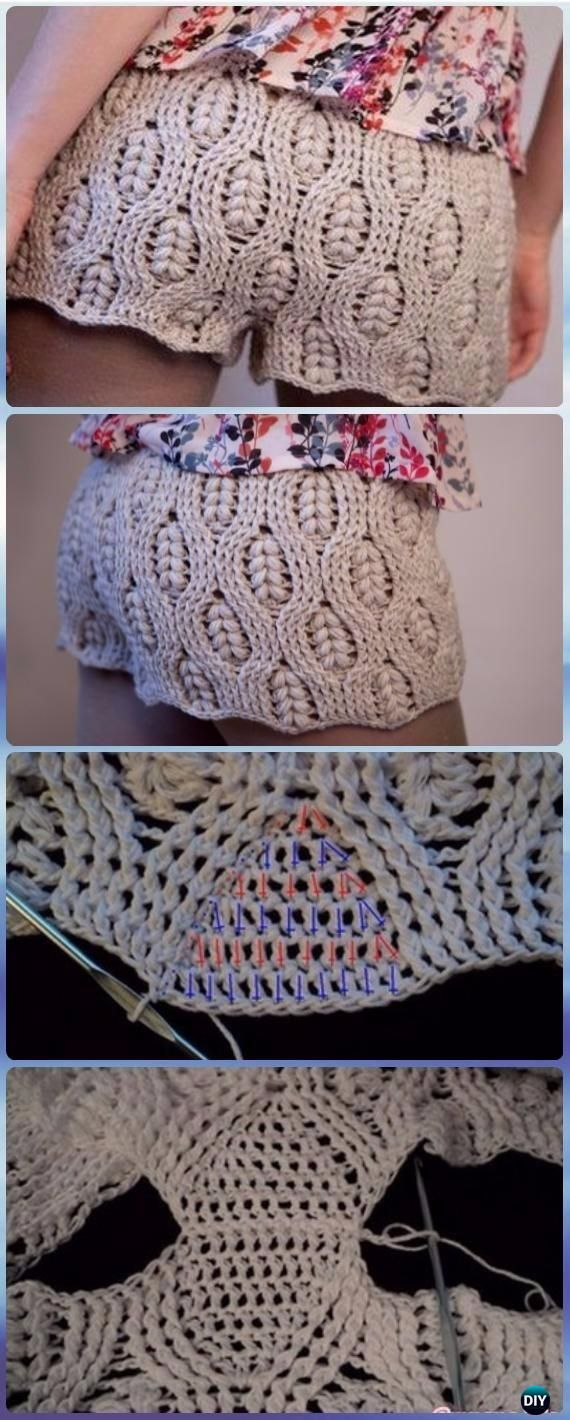 Crochet Wheat Stitch Summer Shorts Free Pattern