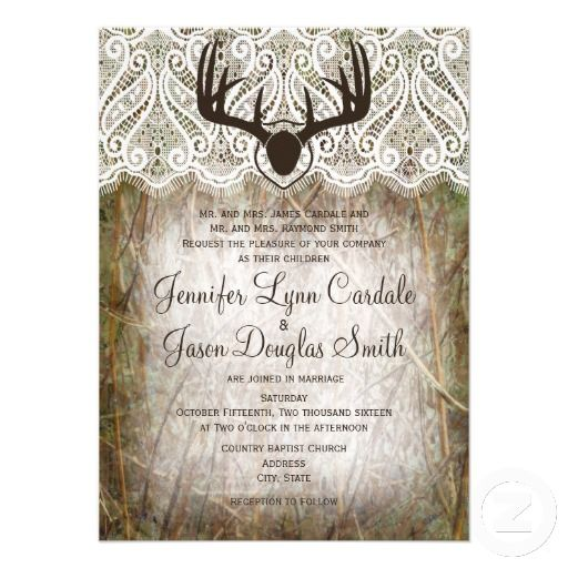 Rustic Country Camo Hunting Antlers Wedding Invite with mounted deer antlers for a hunting themed wedding.  www.zazzle.com/...