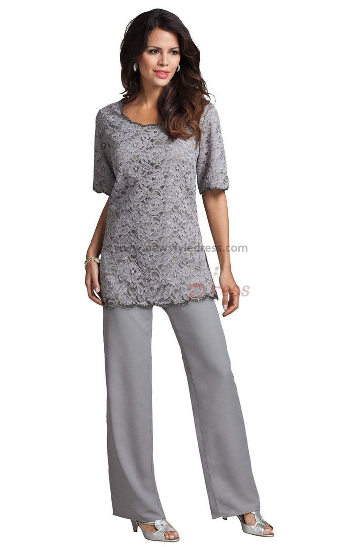 Gray Lace Cheap Two piece mother of the bride pant suits nmo-002