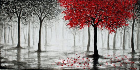 Large original textured painting,wall art,red tree,rain ...