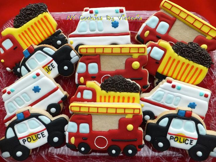 Fire, Police, Ambulance, Dump Truck Cookies