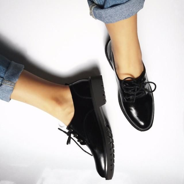 Women's Spring/Summer Leather Lace-Up Oxfords | ZO…