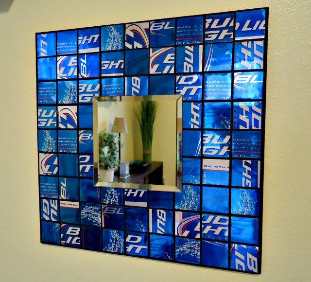 Mosaic Mirror from Recycled Beer Cans - Royal Blue - Man Cave - Fathers Day. $35.00, via Etsy.