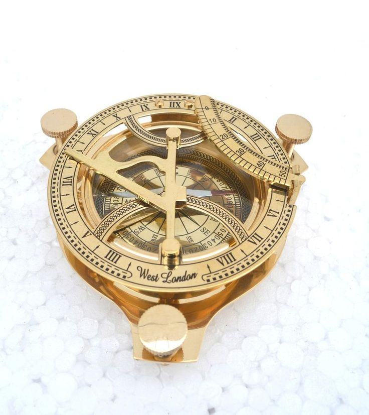 Beautiful Vintage Nautical  4  Sundial Compass  shiny solid brass victorian era