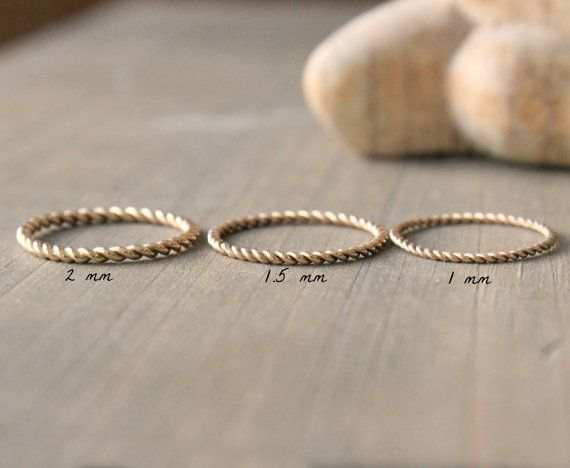 "Wedding Band Gold Ring Twined Stacking Ring Three Widths To Choose From–""Twined"""