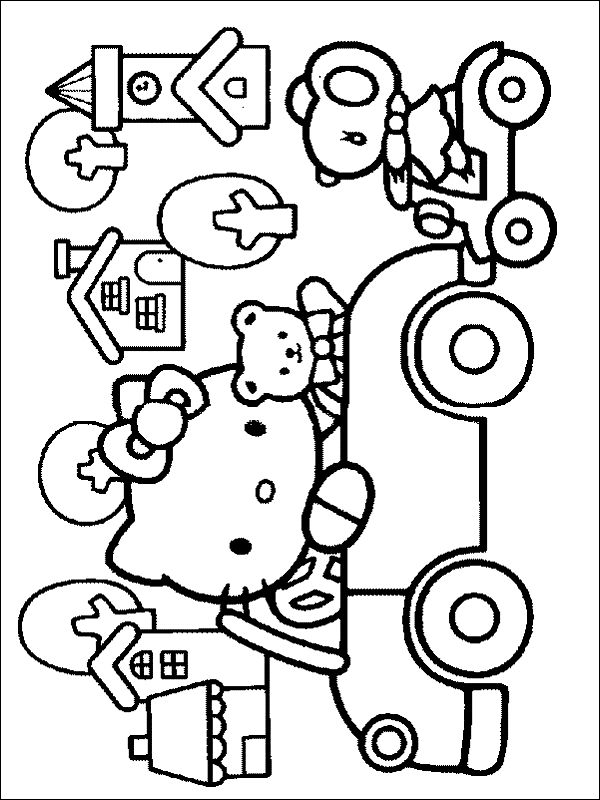 Hello Kitty Is Driving To The City With Her Friends In This Colour Sheet Free Printable Colouring Pages