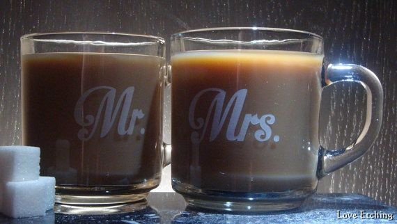 Mr. & Mrs.  Love kanji  Etched Glass Coffee Mugs  by LoveEtching, $45.00