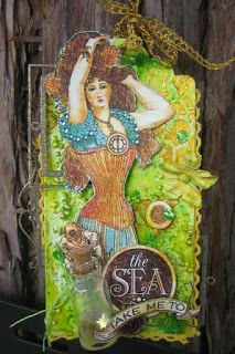 Take Me To The Sea Tag - Scrapmatts chipboards & stencil, G45 Voyage Beneath the Sea collection, Ken Oliver Color Bursts & Tattered Angels Glimmer Mists