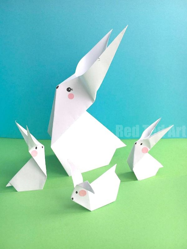 Easy Paper Bunny Origami - super cute little Origami Bunny Pattern for kids. Love these paper bunnies! Cute & easy. Great Easter decor!