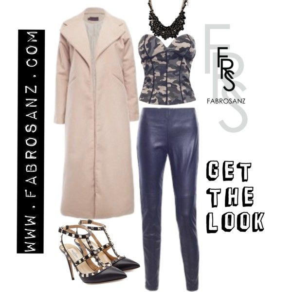 Camo look by FabroStyling on Polyvore featuring Valentino, FabroSanz Camo Bustier and Nude Coat