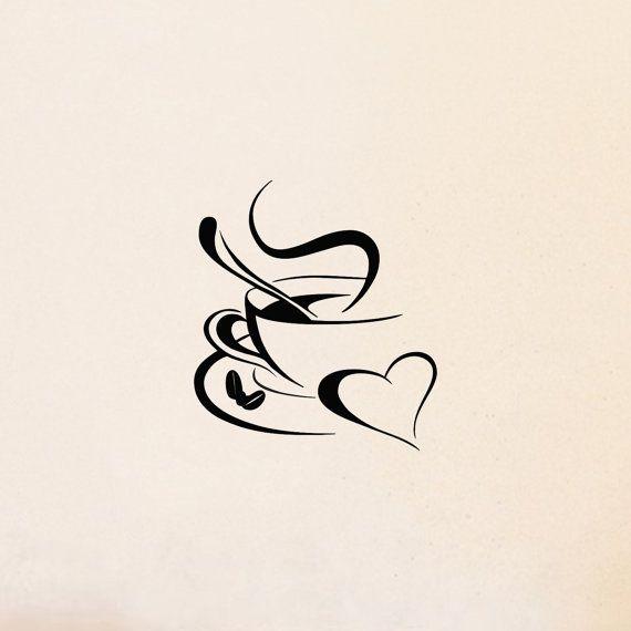 Coffee Love Heart   kitchen wall decal sticker art by decalplaza, $4.99