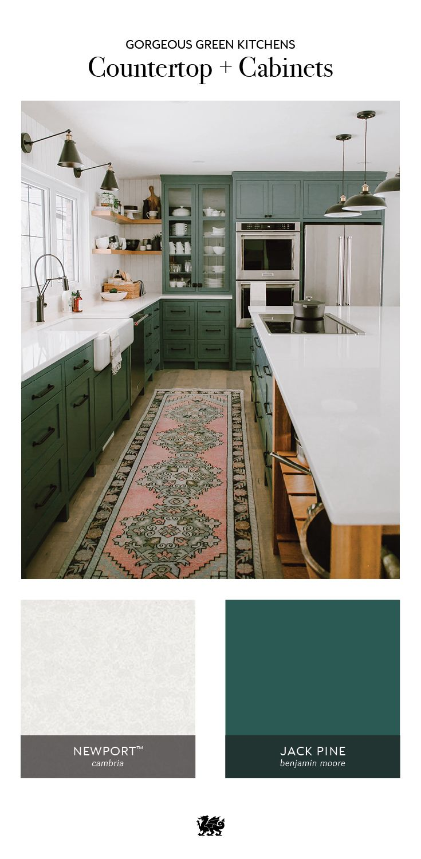 Refine Define 7 Gorgeous Green Kitchens Green Countertops Green Cabinets Green Kitchen Cabinets