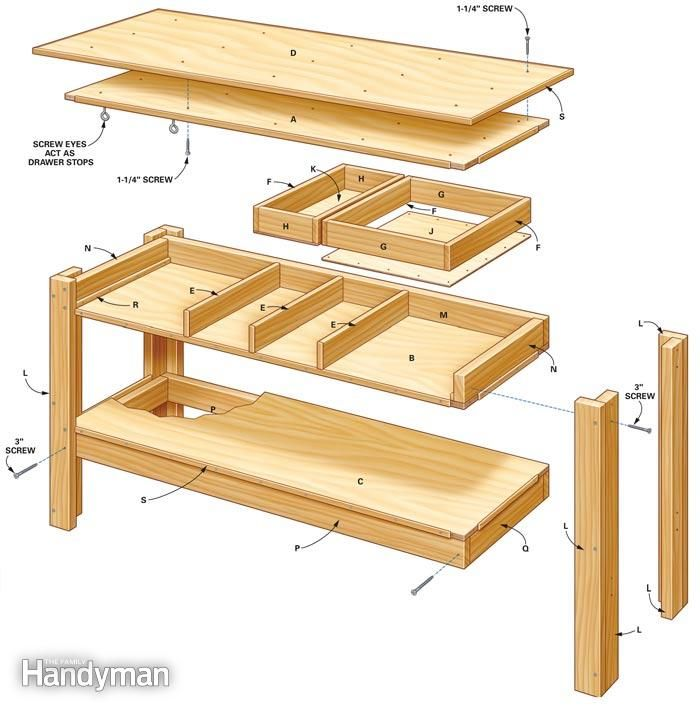 8 foot garage workbench simple workbench plans the family handyman