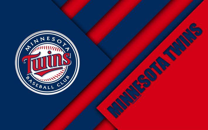 Download wallpapers Minnesota Twins, MLB, 4k, red blue abstraction, logo, material design, American baseball club, Minnesota, USA, Major League Baseball