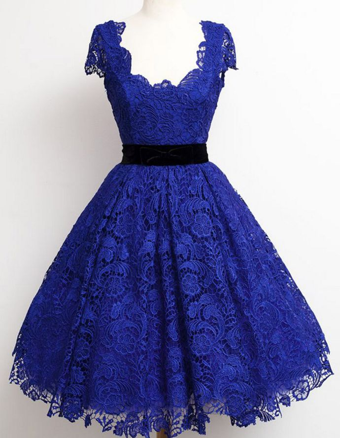 Royal Blue Cap Sleeves Homecoming Dresses Short Formal Dresses Lace Evening Dresses – Homecoming Dresses