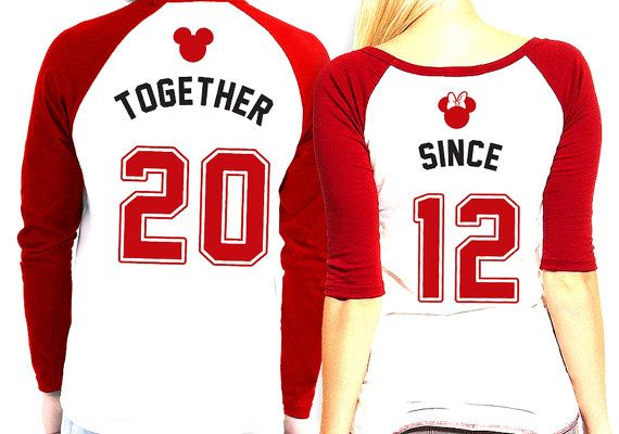 His and Hers matching Mickey and Minnie Raglan (Baseball Style) Tee Shirts! Displays Together Since Year on back. Price is for Two (2) Tees