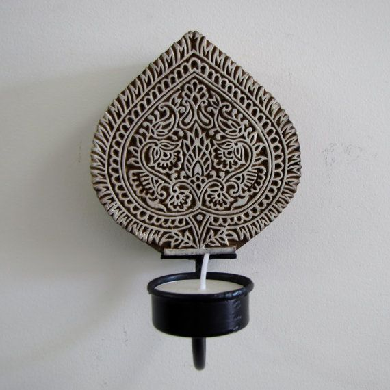 Textile wooden block intricately engraved rustic Indian wall hanging tea light,Indian
