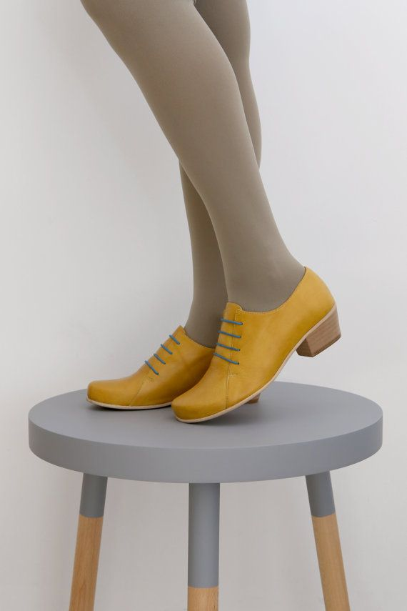 ON SALE 30 % NEW Womens shoes , yellow leather with chunky heels , handmade , adikilav