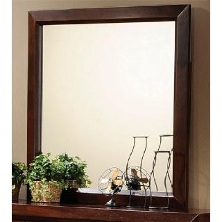 Large, dark wood framed mirror