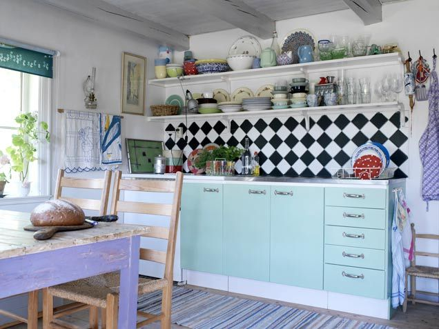Blue Kitchen Cabinets, black and white checkered back splash with open shelves from ivstatic.com