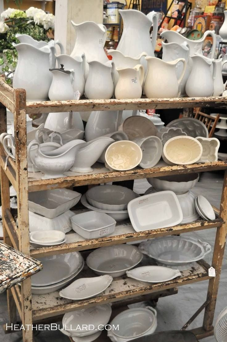 TheWindyLilac.com-Sharing All Things Home-FARMHOUSE DECOR-Винтаж посуда. Great Decorating ideas for Farmhouse, French Country, Country and Cottage Decor. All the white dishes...(white pitchers, vintage dishes)