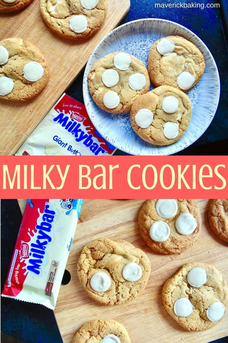 Milky Bar Cookies; easy-to-make soft and chewy cookies loaded with chunks of the classic creamy Milky Bar white chocolate!