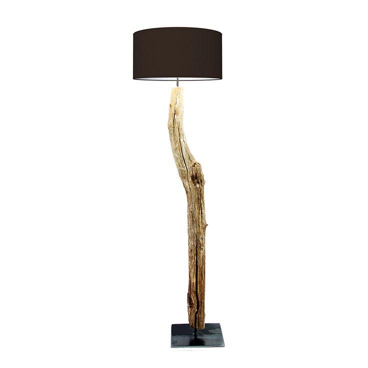 houten boomstronk vloerlamp
