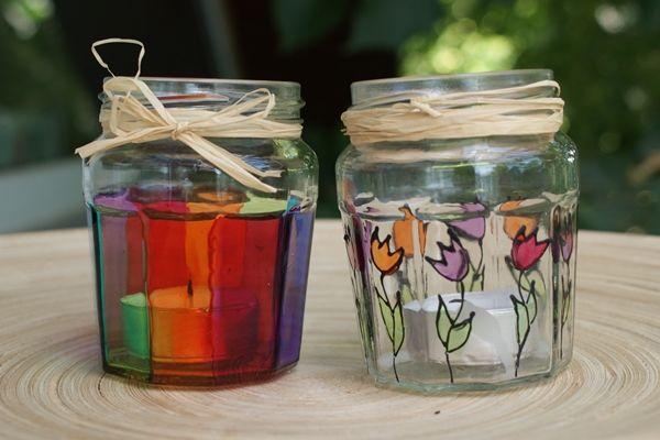 Formás üvegből festett mécsestartó   Életszépítők